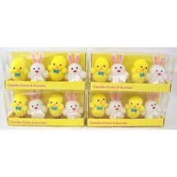 4 x  Pack Of 4 Chenille Easter Chicks & Bunnies 2 Chicks 2 Bunnies Easter Decoration
