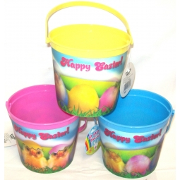 Set Of 3 Plastic Easter Egg Hunt Beach Buckets 3D Easter Scene - Easter Chicks