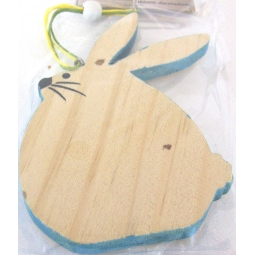 Blue Easter Bunny Decoration Hanging Wooden Easter Bunny Plaque