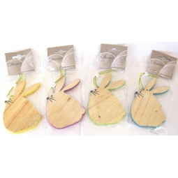 Easter Bunny Decoration Hanging Wooden Easter Bunny Plaque Assorted Colours