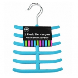 Blue Tie Hangers Pack of 2 Flock Brights Also Ideal for Belts and Scarves