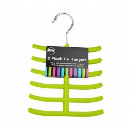 Green Tie Hangers Pack of 2 Flock Brights Also Ideal for Belts and Scarves