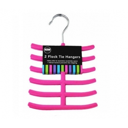 Pink Tie Hangers Pack of 2 Flock Brights Also Ideal for Belts and Scarves