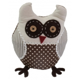 JVL Polka Dot Stripe Design Weighted Novelty Ozzy Owl Fabric Door Stop Brown