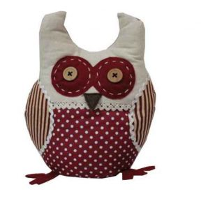 JVL Polka Dot Stripe Design Weighted Novelty Ozzy Owl Fabric Door Stop Red