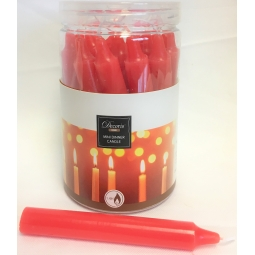 Tub Of 22 Mini 10cm Christmas Dinner Taper Candles 1.4H Burn Time - Red