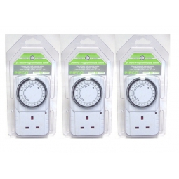 3 x PIFCO 24 Hour Programmable 3 Pin Plug In Timer Maximum 3200W 15 Min-24 Hour