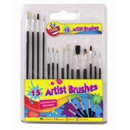 Artbox Pack Of 15 Wooden Handle Assorted Artist Detail Paint Brushes Round Flat