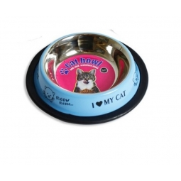 Small Cat Food Water Bowl Anti Slip Stainless Steel 150ml Pet Bowl - Blue