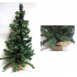 Mini Table Top Centerpiece Artificial Christmas Tree With Hessian Base - 60CM