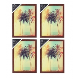 4 x A4 Dark Wood Photo Frame Portrait Or Landscape Hang Or Stand 21cm x 29.7cm