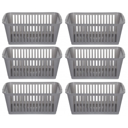 37cm Silver Plastic Handy Basket Storage Basket - Set Of 6