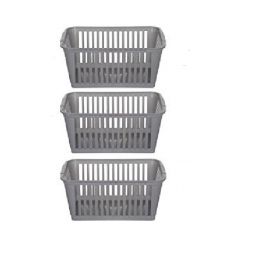 30cm Silver Plastic Handy Basket Storage Basket - Set Of 3