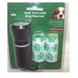 Crufts 2 In 1 Pet Dog Walking Hand Torch With Poo Bag Dispenser & 40 Doggie Bags