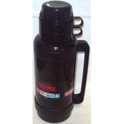 Thermos Mondial Glass Vacuum Insulated Travel Drink Soup Flask With 2 Cups 1.8L