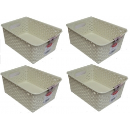 4 x Plastic Rattan Wicker Effect Small Storage Filing Basket Desk Tray 8L Cream
