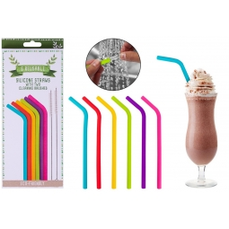Pack Of 6 Reusable Multi Coloured Silicone Drinking Straws With Cleaning Brushes