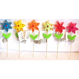 Set Of 6 Decorative Mini Garden Windmills Multi Coloured With Ladybird Center
