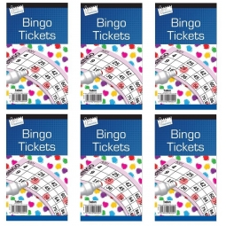 6 x Just Stationery Bingo Tickets Bingo Book Colour May Vary