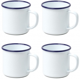 4 x White Enamel Camping Mug Falcon 8cm 284ml Drinking Cup Camping Scouts Hiking