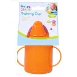 Orange Toddler Baby Training Sippy Juice Cup 260ml Easy Grip Double Handles