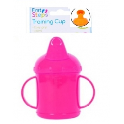 Pink Toddler Baby Training Sippy Juice Cup 260ml Easy Grip Double Handles