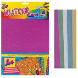 8 Sheets Of Assorted Colour Glitter Card With Stencil Template Shapes Craft Card Making