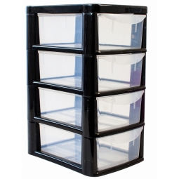 Black Plastic 4 Drawer Tower Storage Unit Small A5 Stationery Filing 38.5cm