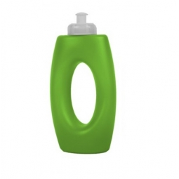 Green Coloured Plastic Sports Cap Drinking Bottle With Handle Water Juice 400ml