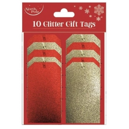 Pack Of 10 Christmas Glitter Gift Tags With Ribbon 5 Gold And 5 Red 11cm