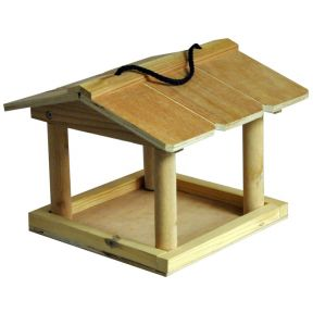Natures Market Hanging Wooden Bird Table Wild Bird Garden Feeding Station