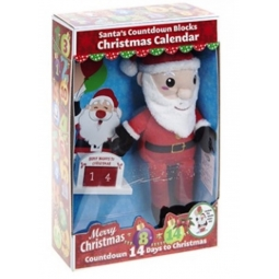 Cute 12 Inch Plush Santa Toy Christmas Advent Calender Wooden Blocks Countdown