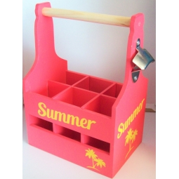 Pink Wooden Summer Drinks Caddy 6 Bottle Holder With Bottle Opener