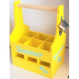 Yellow Wooden Summer Drinks Caddy 6 Bottle Holder With Bottle Opener