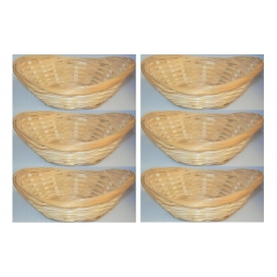6 x Natural Small Woven Bamoboo Baskets Oval Wicker Storage Bread Fruit Snack Bowls