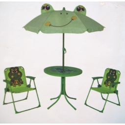 Childrens Garden Furniture Patio Set Kids Table Chairs & Parasol - Green Frog