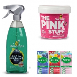 3pc Mrs Hinch Cleaning Bundle Household Cleaner Pink Stuff Zoflora Disinfectant