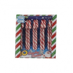 Pack Of 10 Peppermint Flavour Christmas Tree Striped Wrapped Candy Canes Sweets
