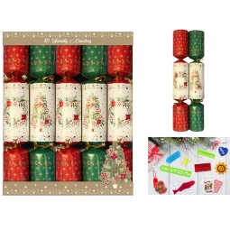 10 Family Traditional Chrstmas Dinner Crackers Red Green Tree & Wreath XM4817
