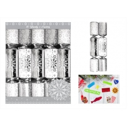 10 Family Chrstmas Dinner Crackers Foiled Silver & White Snowflake Design XM4818