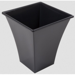 Black 23cm Metallica Square Flared Indoor Outdoor Plant Patio Pot 23cm x 26cm