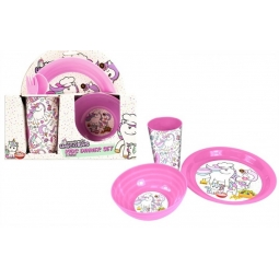 Kids Magical Unicorn Pink Dinner Lunch Set Plate Bowl Beacker Cup Cutlery Plastic