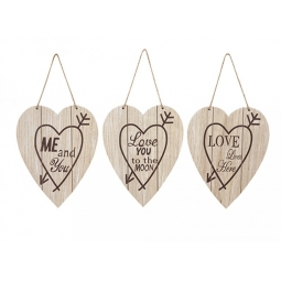 Heart Shaped Wooden Wall Plaques Signs Home Love You Live Me & You 24cm