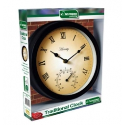 Kingfisher Traditional Garden Clock With Thermometer