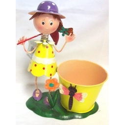 Yellow Premier Decorative Metal Plant Pot Girl With Butterfly Net & Dragonfly