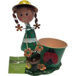 Green Premier Decorative Metal Plant Pot Girl With Flower Basket & Ladybird
