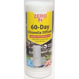 Zero In Portable Travel 60 Day Citronella Diffuser Fly Insect Killer Repellent