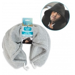 Grey Travel Pillow With Hood