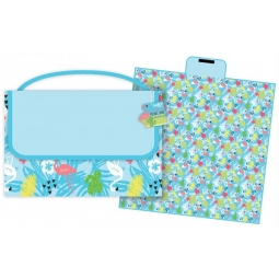 Large Family Insulated Cool Lunch Bag 40cm x 30cm Bright Blue Flamingo Design