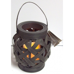 Lumineo Wicker Effect Indoor LED Candle Lantern Battery Operated & Timer - Brown